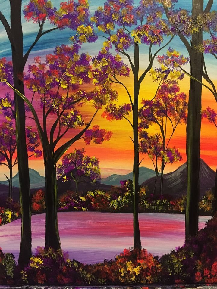 There S Nothing Like A Peaceful Summer Night Spend Yours Painting Shimmering Sunset Canvas Painting Projects Abstract Canvas Painting Modern Abstract Painting