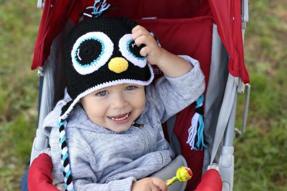 Crocheted Newborn/Toddler Penguin Earflap by BoutiqueDeHelene
