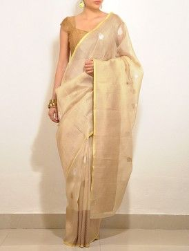 Gold Paisley Kota-Silk Saree