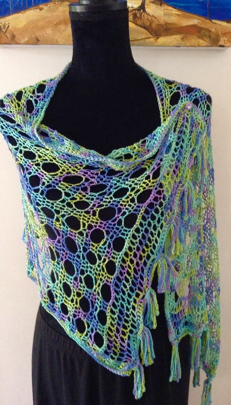 Shawl Silk With Beads  'Jewels of the Sea'