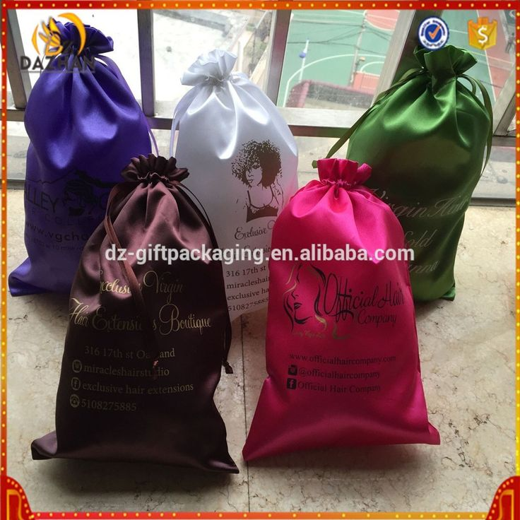 Personalized Custom Hair Extension Packaging Custom Satin Bags