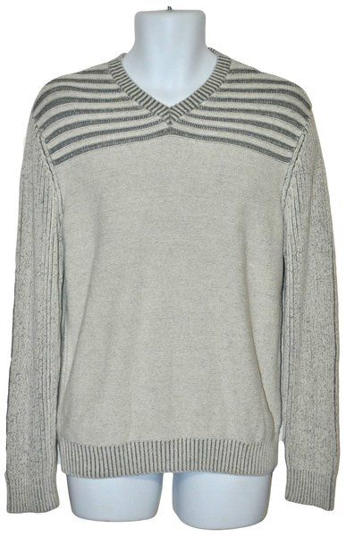 American Rag Mens Sweater Ribbed VNeck Gray Striped Sz Medium | Thrifty Deals Online Thrift Store - Preowned Clothing Accessories