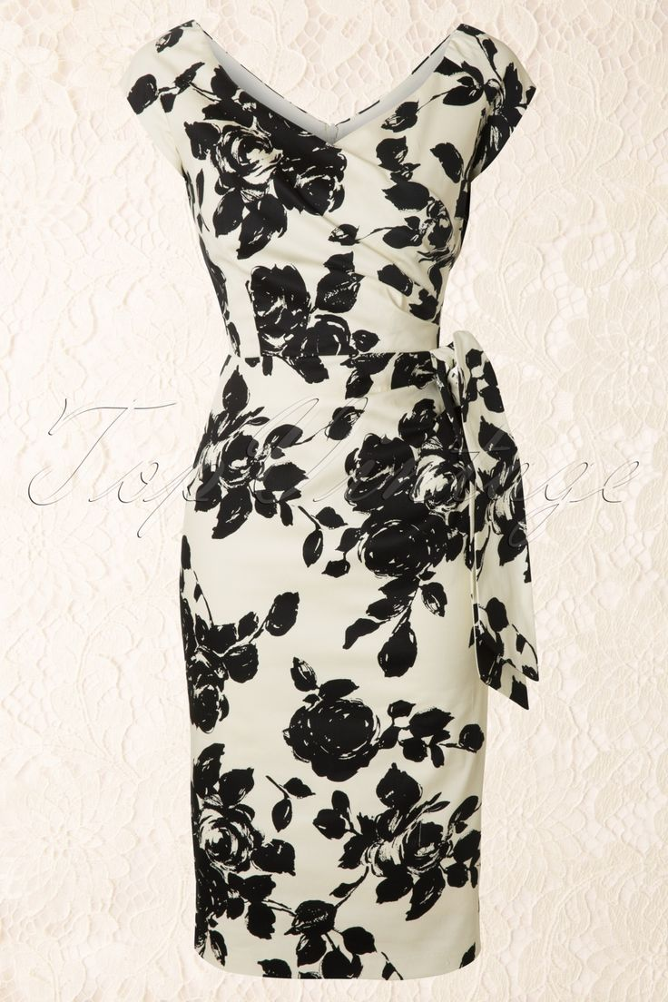 The Pretty Dress Company by TopVintage - Hourglass Cream and Black Rose Vintage Pencil dress
