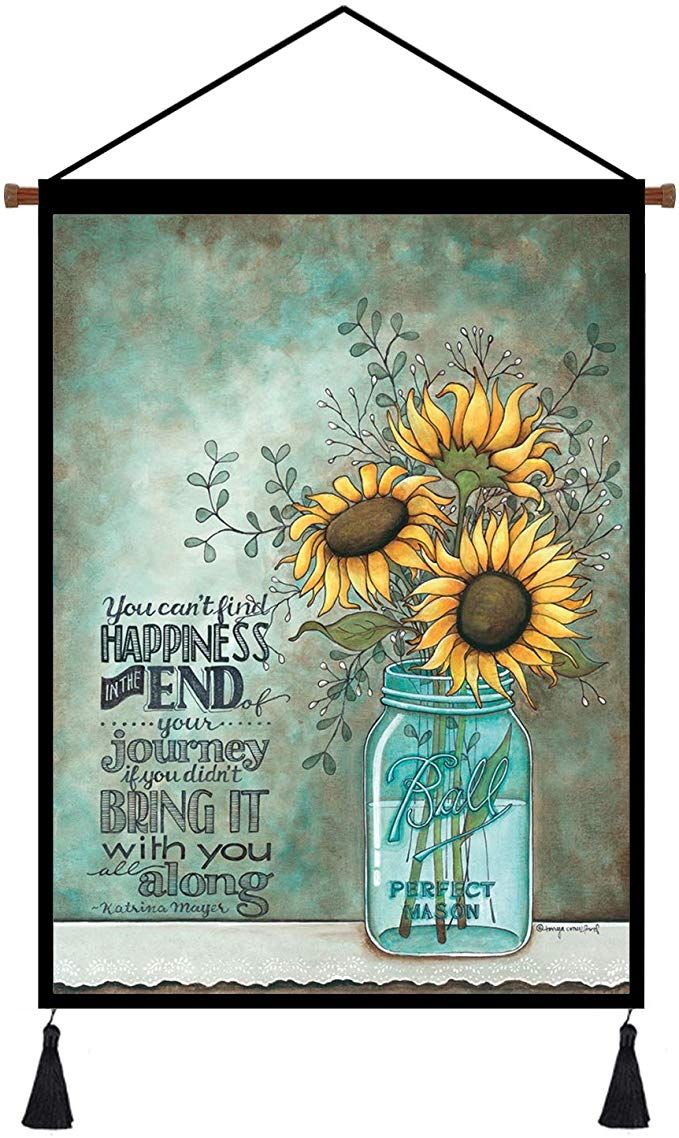 Link Goes To Amazon Hanging Poster Sunflower Wall Art Prints Decor Inspirational Word Canvas Rustic Sunflower Wall Art Rustic Artwork Artwork For Living Room