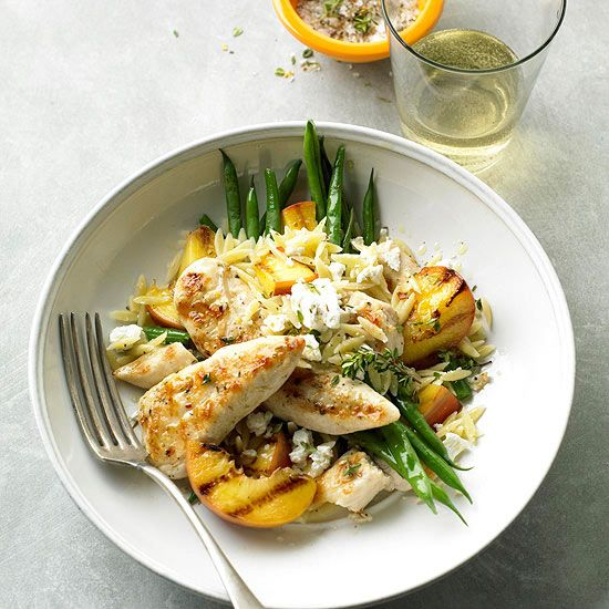 Summer staples like peaches (grilled, of course!) and green beans take center stage in this healthy chicken dinner.