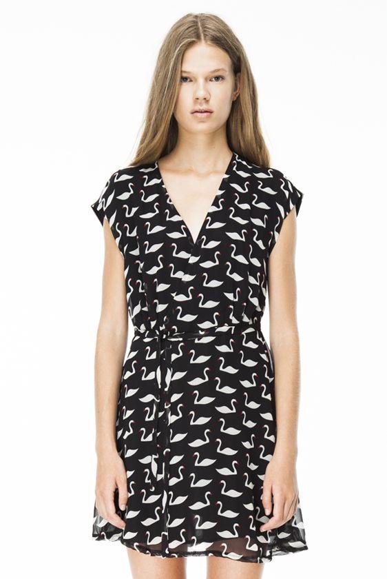 Vestido gasa estampado cisnes en negro