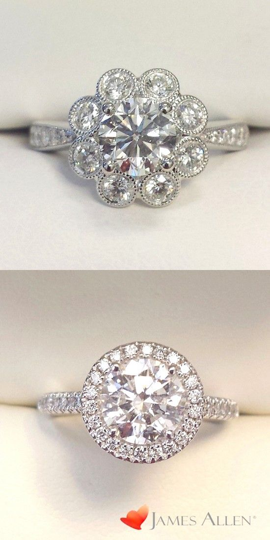 14K White Gold Vintage Flower Halo Engagement Ring - Perfection