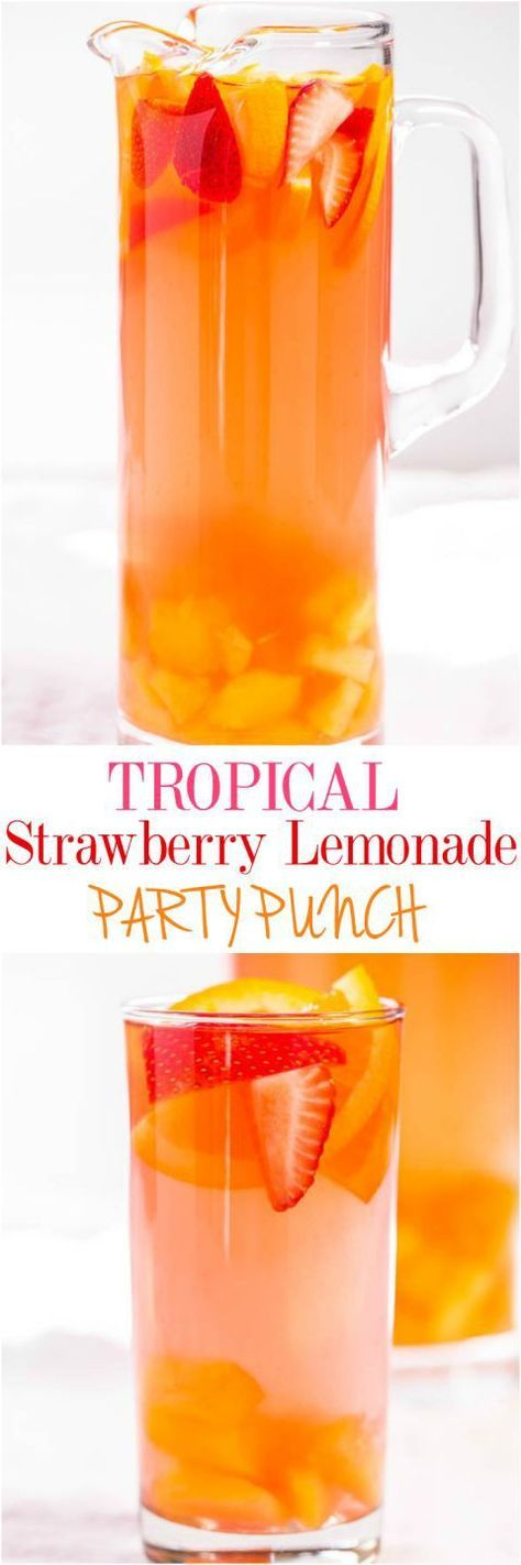 Tropical Strawberry Lemonade Party Punch Recipe via Averie Cooks - Sweet and citrusy with a tropical vibe! So fast and easy!! Punch and sangria all in one with loads of fruit!! (can be made virgin) The BEST Easy Non-Alcoholic Drinks Recipes - Creative Mocktails and Family Friendly, Alcohol-Free, Big Batch Party Beverages for a Crowd!