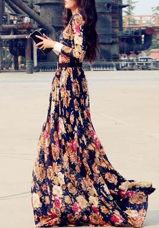 Multicolor Floral Print Floor Length Chiffon Dress  29c672a773