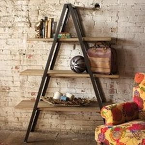Folding Metal A-Frame Shelving Unit With Three Wooden Shelves