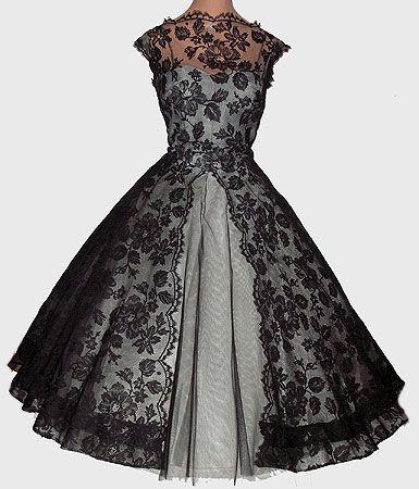 Vintage 50s Full Skirt Party Dress