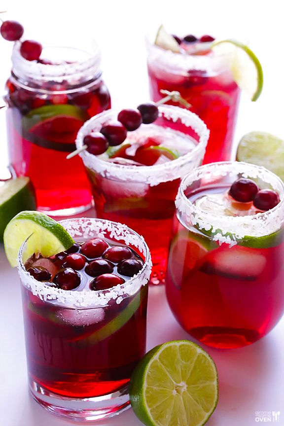 Cranberries create a colorful spin on these holiday margaritas.