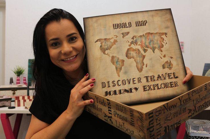 DIY   Faça Você Mesmo   Caixa com Stencil Mapa   Livia Fiorelli   Life A...