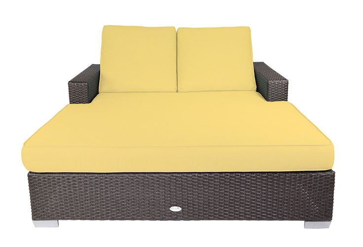 Patio Heaven SB-C2-5438 Signature Double Chaise Lounge with Cushion in Canvas Fabric, Buttercup. Sturdy powder-coated aluminum frame. Non-toxic 100% recyclable material. All-weather and UV resistant polyethylene wicker. Includes premium UV resistant Sunbrella outdoor cushions manufactured in the USA.