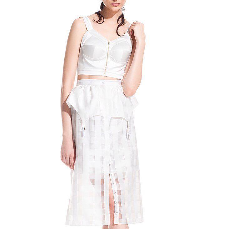 Choice 1: Vanilla skirt. Organza skirt with peplum suspenders.