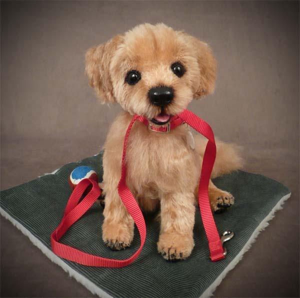 My newest Golden Retriever Puppy sculpture, hand dyed mohair,leather paw pads.: Puppies Sculpture, Golden Retriever