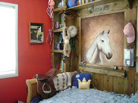 Create a barn wall with shelving and a horse looking in!