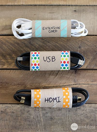 Keeping your cables organized doesn't have to be difficult or complicated. Here is an inexpensive and colorful solution. Use toilet paper rolls! Simply write on each one what type of cable it contains and insert the neatly coiled cords. Add a few pieces of washi tape for decoration if you like. This simple idea will save space, time, and your sanity when looking for your cables.