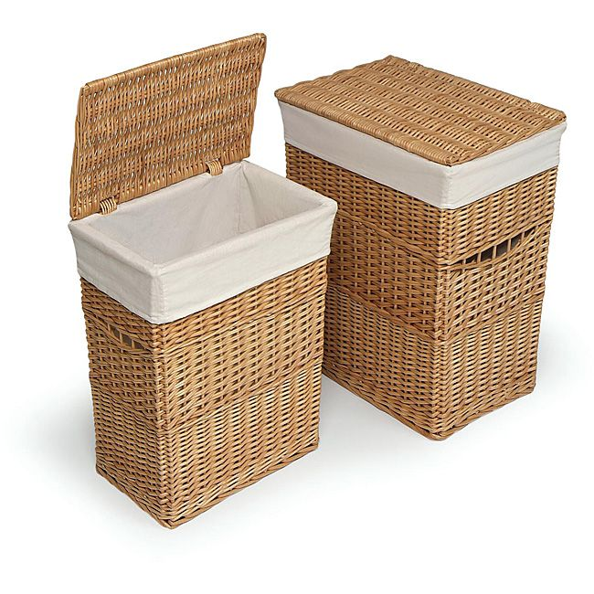 Add storage for dirty laundry to any area with these wicker laundry hampers featuring sturdy construction with wicker materials and removable fabric liners for easy machine washing. This hamper set is great for bathroom, nursery or bedroom use.