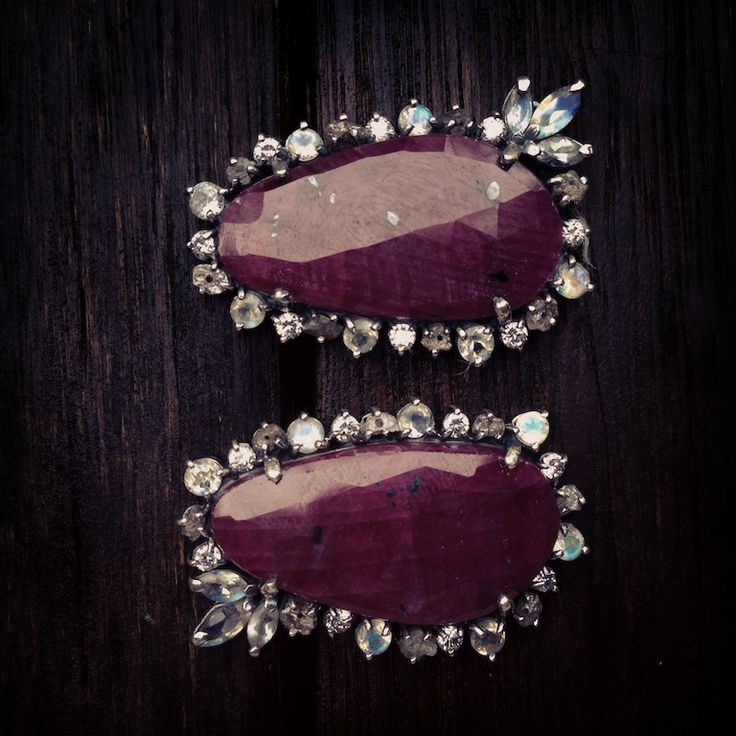 By Donna Yolka earrings, ruby, moonstone #accessories #Jewelry #silver