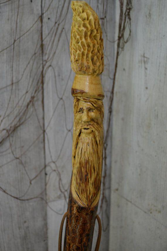 Mountain Man And Morel Mushroom Carved Walking Stick Hand