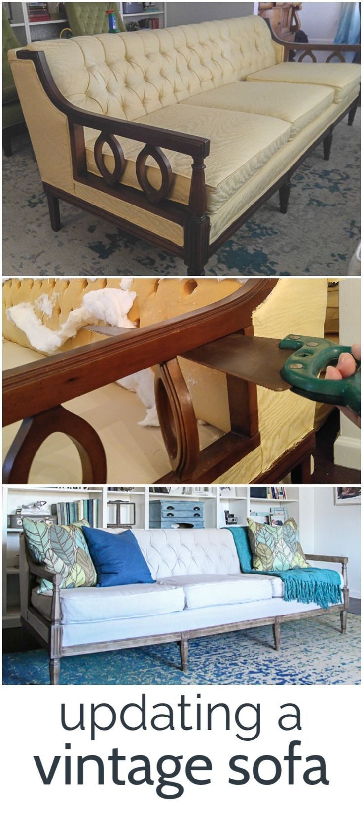 How To Reupholster A Couch On The Cheap Lovely Etc Vintage Sofa Wooden Sofa Wooden Couch