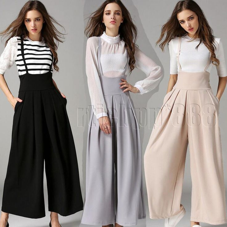 Womens Wide Leg Flared Palazzo Dress Casual Cropped Pants High Waisted Jumpsuit