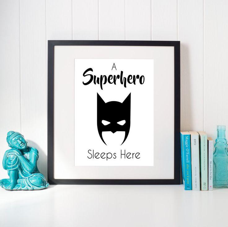 A superhero sleeps here, printable, batman, wall art, home decor, nursery decor, baby room decor, poster, batman decor, baby shower gift by SBGraphicsCo on Etsy