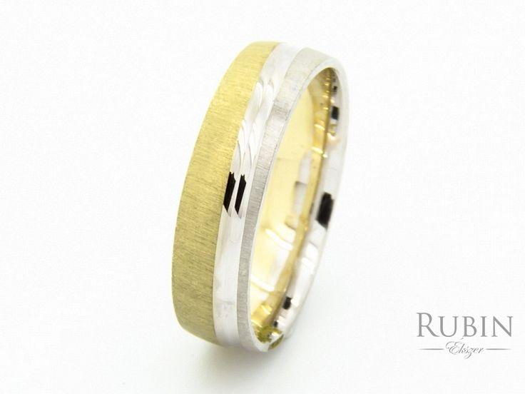 Bikolor vésett arany karikagyűrű