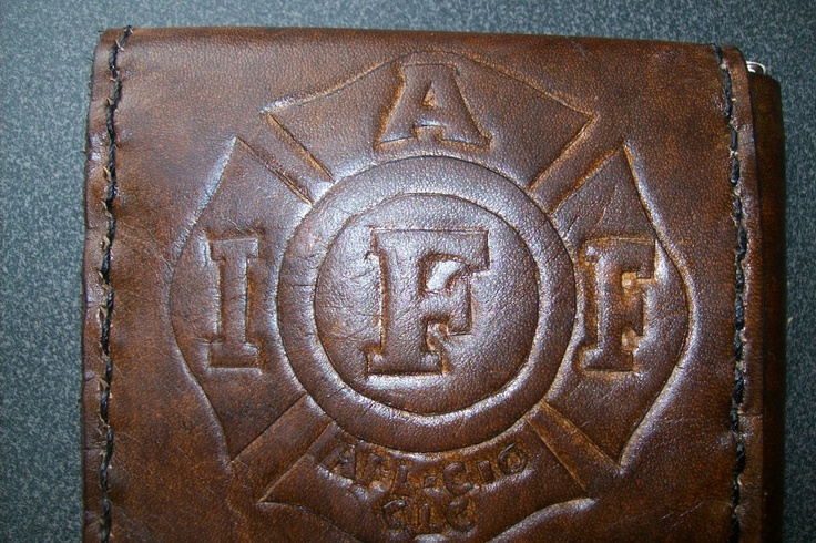 Custom Leather Money Clip Wallet with Fireman Union Logo and Persoalization
