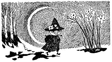 """""""Everything gets so difficult if you want to own things. You have to carry them around and watch over them. I just look at them, and then when I continue on my way I can remember them in my head. I prefer that to dragging a suitcase."""" --snufkin"""