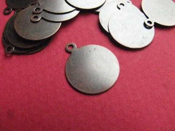 14mm Tag Drop Antique Copper http://etsy.me/1E0Ljmy #jewelry #brass #gem #drop #disc #charm #jewelonpet #etsy