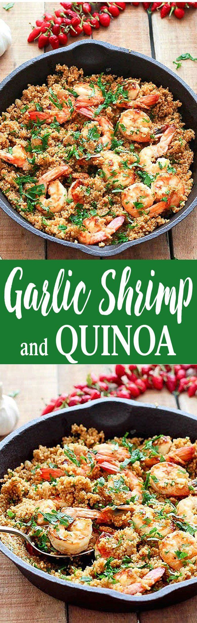 Garlic Shrimp and Quinoa - a simple, healthy and gluten-free one pan dinner ready in 35 minutes. Only 260 calories per serving via @easyasapplepie