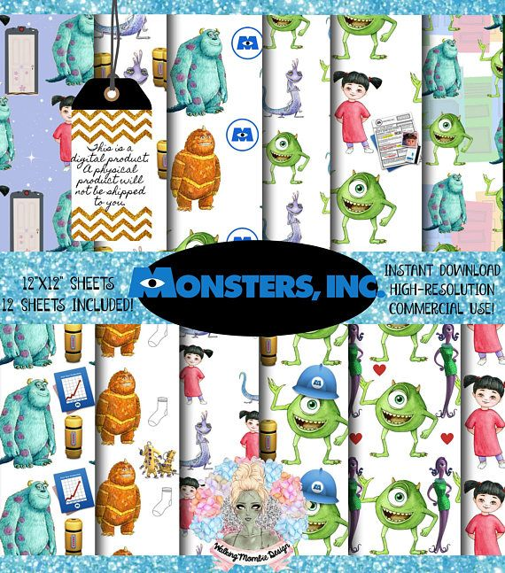 Monsters Inc Digital Paper Pack, Monsters University, Monsters Inc Baby, Monsters Inc Party, Disney Scrapbook, Scrapbook paper 12x12, scrapbook paper pack  If you prefer a different file format, please dont hesitate to message me prior to making your purchase to request your preferred file format. As you can imagine—these design papers are versatile. You can use them for scrapbooking, DIY invitations, thank you cards, birthday cards, party decorations, cupcake toppers, confetti, Modge Podge…