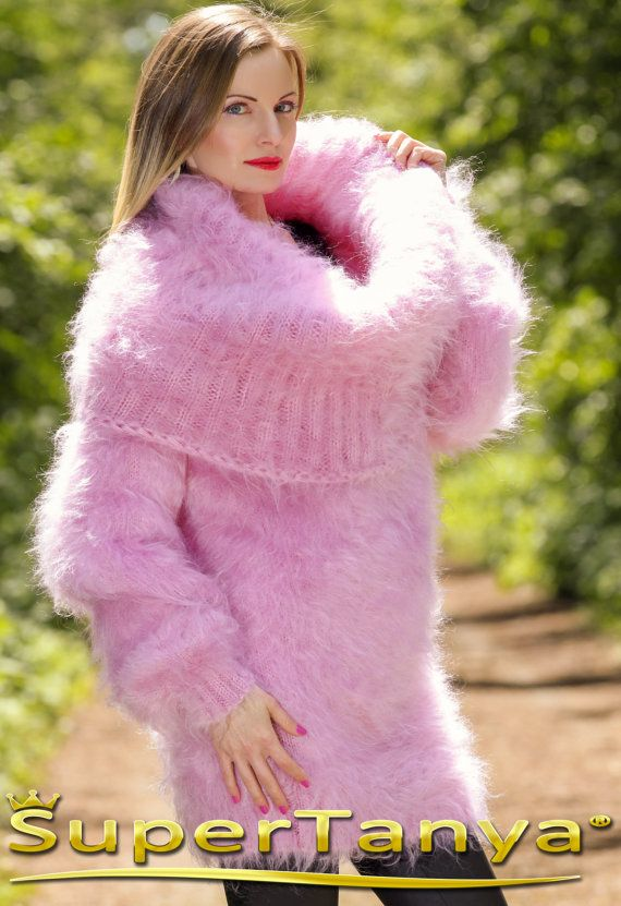 Handmade fuzzy mohair cowl neck sweater dress in pink designed by ...