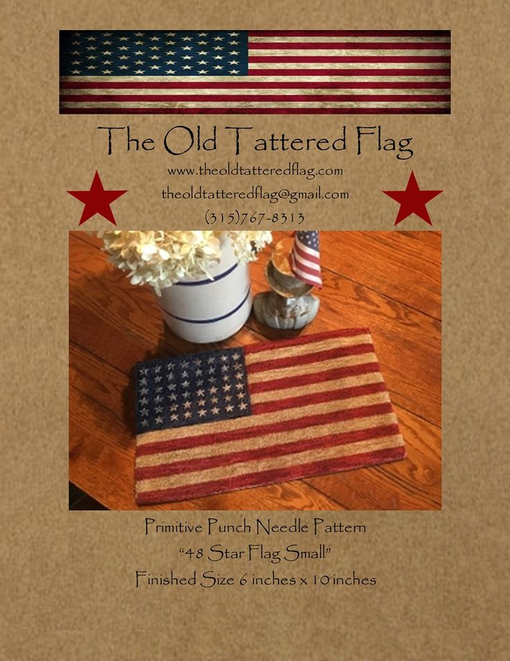 48 Star Flag Small Punch Needle Pattern - Old glory…what more can we say.  The beautiful Valdani threads used in our Flag set this project apart.  6in x 10in.  Pattern includes cover photo and thread suggestion card.