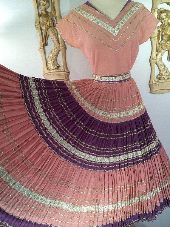 1950s 2 Piece Southwestern Patio Dress  Lavender and by AwwwShucks