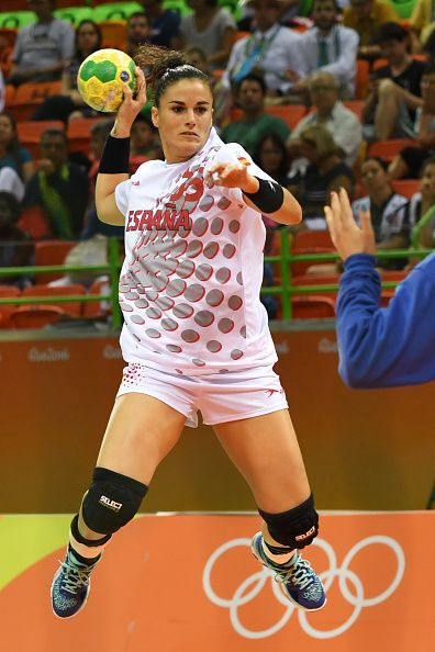 #RIO2016 Best of Day 1 - Spain's left wing Naiara Egozkue Extremado shoots during the women's preliminaries Group A handball match Montenegro vs Spain for the Rio 2016...