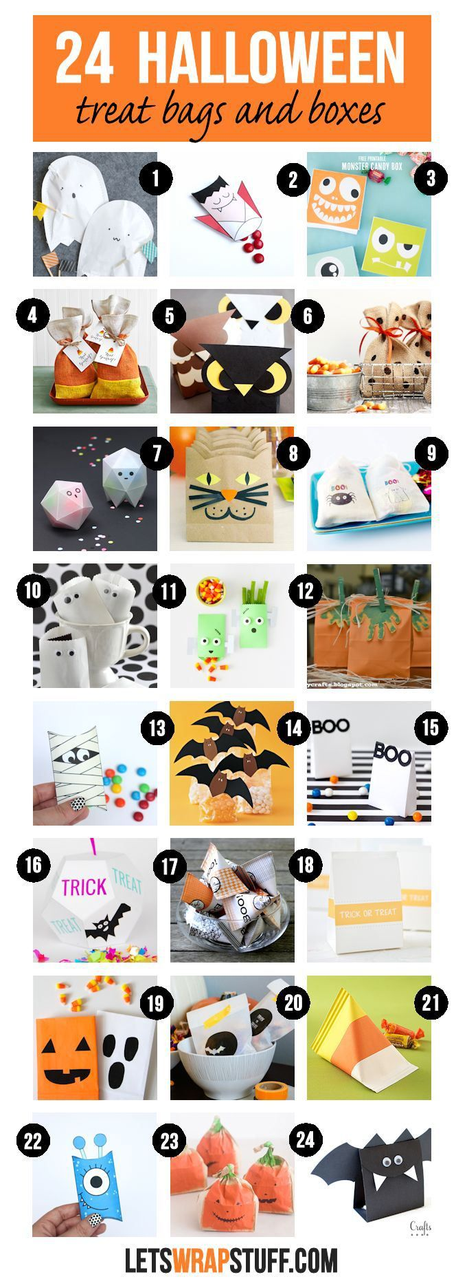 A collection of 24 Halloween treat bags and boxes... perfect to fill with candy and other treats and share as Halloween party favors.