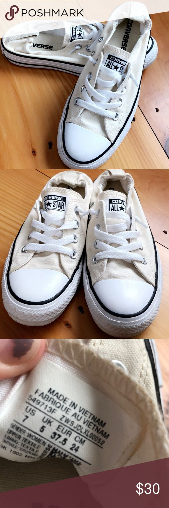 Converse slip ons Off white Converse slip ons. Size 7. Great condition! Worn twice, I hate to get rid of them but they are a little too small, I'm more of a true 7.5 Converse Shoes Sneakers