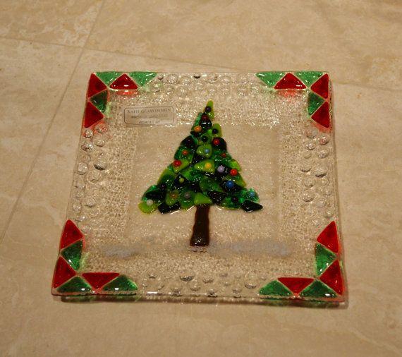Christmas tree glass fused plate by YafitGlass by YafitGlass