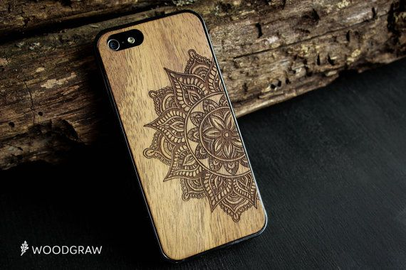 Mandala Wood Case Nature iPhone 6, iPhone 6S, iPhone 7 Plus, iPhone 5/5s, iPhone 5C, iPhone 7 Wooden Gift Gadget Gifts For Men