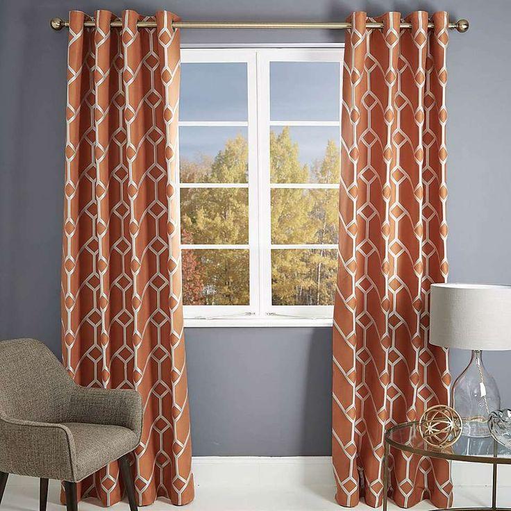 Seville Orange Lined Eyelet Curtains | Dunelm