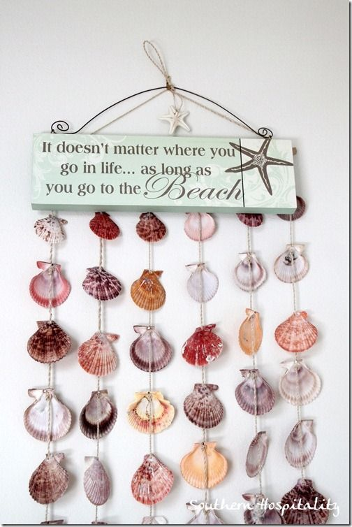 One of my most favorite sayings just popped up at Southern Hospitality... with a lovely shell garland!