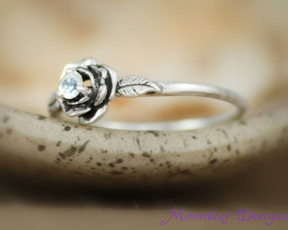 Rainbow Moonstone Delicate Rose Engagement Ring in Sterling