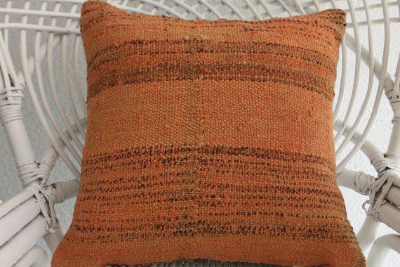 Vintage Turkish Kilim Pillow Overdyed Kilim Pillow 16x16Antique Pillow Handmade Pillow 16x16 Decorative Kilim Pillow 1192