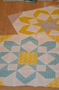 half square triangle block. Pattern called Fireworks by Thimbleblossoms