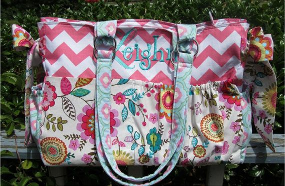 Custom Diaper Bag XL Deluxe Handmade Boutique Pretty Flowers Baby Shabby Chic 10 Pockets Girl Nappy Pink Aqua Teal Cheron Blue Multi Ties