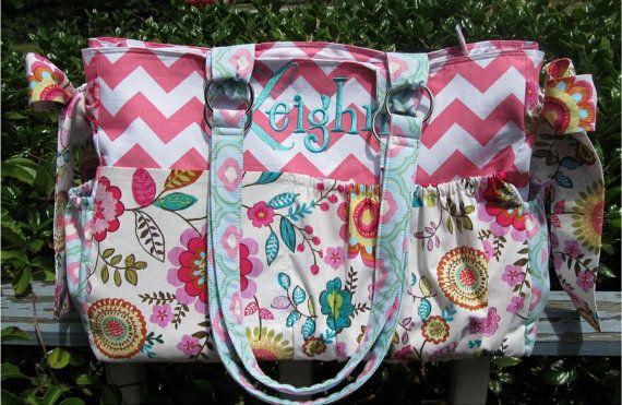 Custom Diaper Bag XL Deluxe Handmade Boutique Pretty Flowers Baby Shabby Chic 10 Pockets Girl Nappy Pink Aqua Teal Cheron Blue Multi Ties