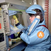 cdc BIO-SAFETY LEVEL 4 for EBOLA - the most dangerous/exotic materials handled in level 4 with POSITIVE PRESSURE SUITS! These have a high risk for aerosol transmission